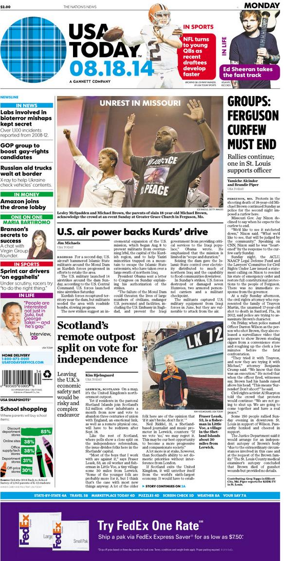 I bylined a story on the front page of USA Today's Aug. 18, 2014 edition.